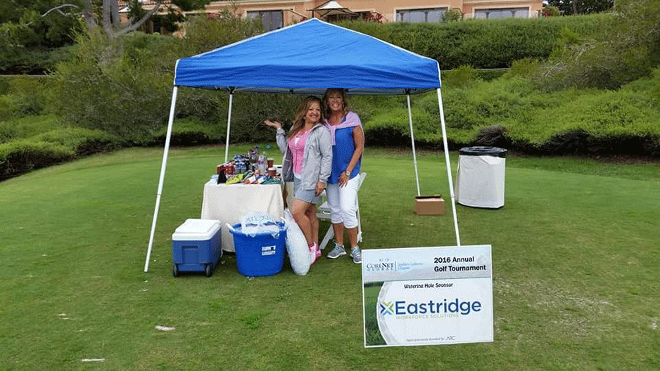 Lina and Kathy at CoreNet Golf Tournament to benefit Junior Achievement