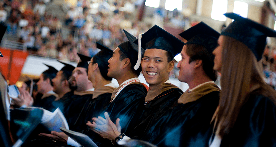 college graduates at graduation ceremony